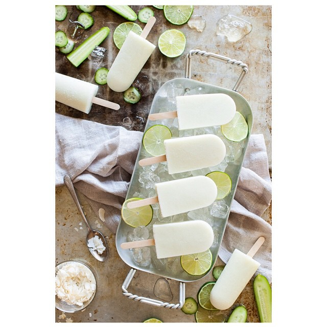 Lime Popsicles With Cucumber And Coconut