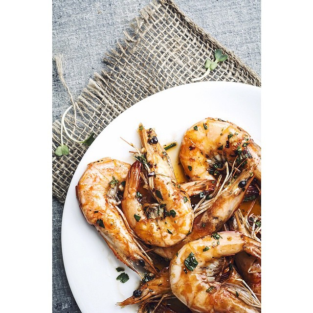 Grilled Whole Prawns