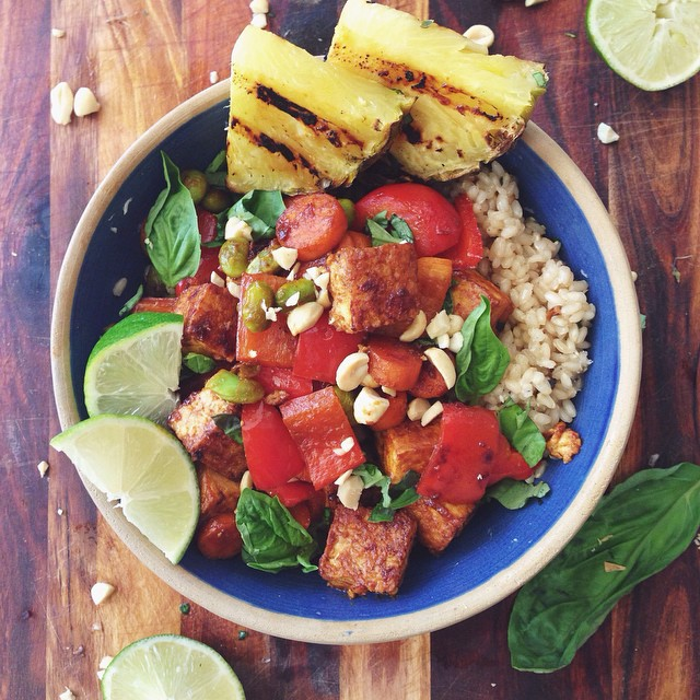 Sweet & Spicy Peanut Tofu, Veggies And Grilled Pineapple Rice Bowl
