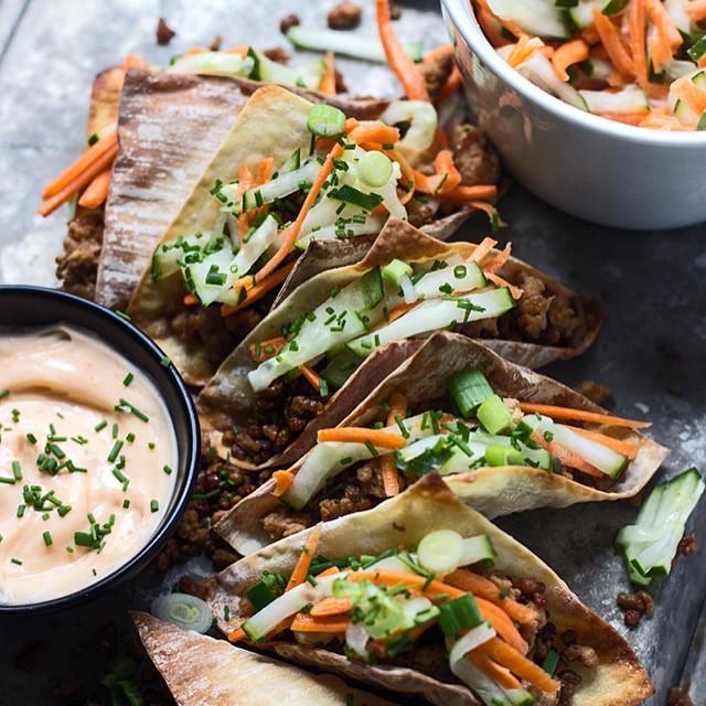 Mini Banh Mi Wontons With Pork, Carrots & Low Fat Mayonnaise