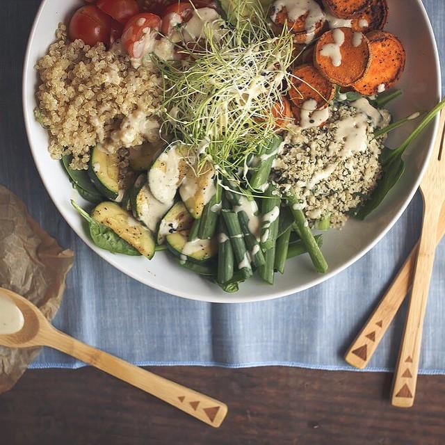 Vegetable Energy Bowls With Lemon, Garlic, & Tahini Dressing