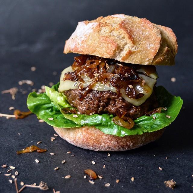 Fennel Burger And Elderflower Onion Sandwich With Gruyere