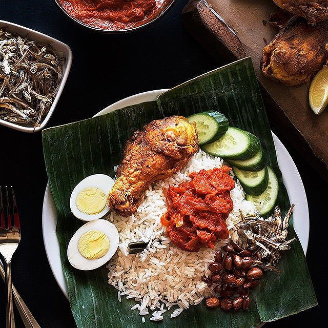 Nasi Lemak With Fried Anchovies, Peanuts & Cucumbers