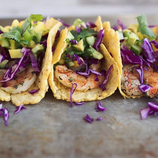 Grilled Cilantro Lime Shrimp Tacos With Mango Avocado Cucumber Salsa On Homemade Plantain Tortillas