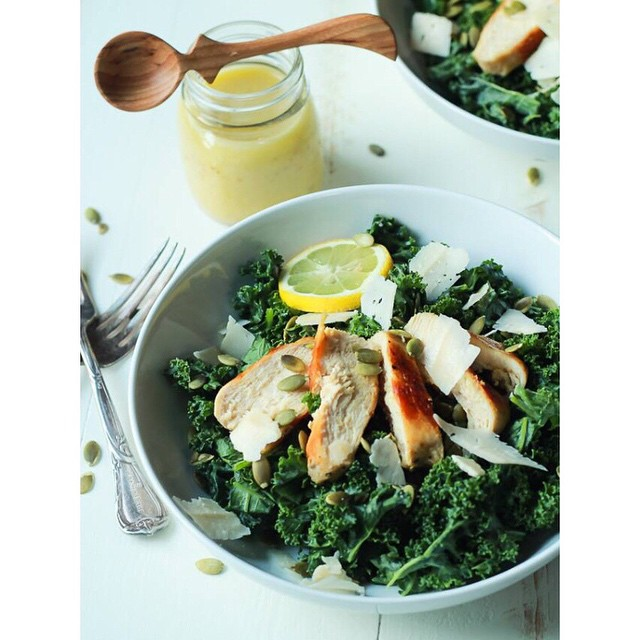 Kale Chicken Caesar Salad With Pepitas & Parmesan