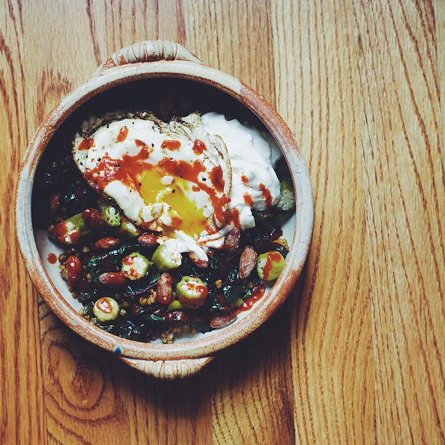 Sautéed Buckwheat And Rainbow Chard, Pickled Okra, Spiced Almonds, Egg, Greek Yogurt And Sriracha