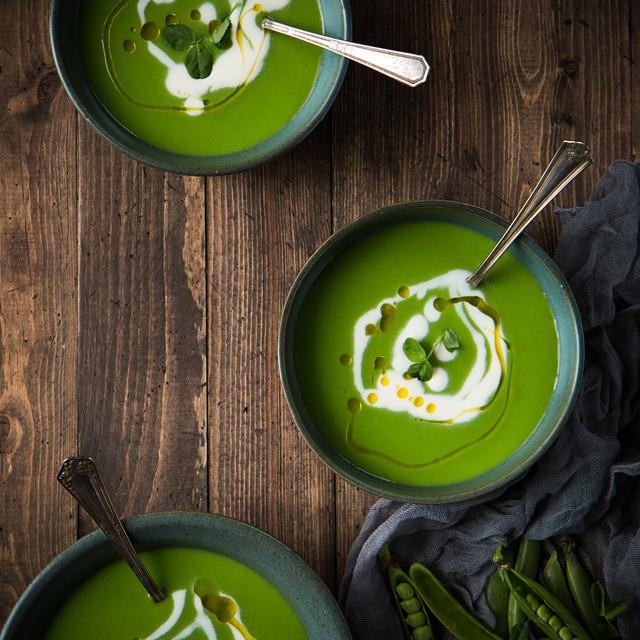 English Pea Soup With Lemon Creme Fraiche