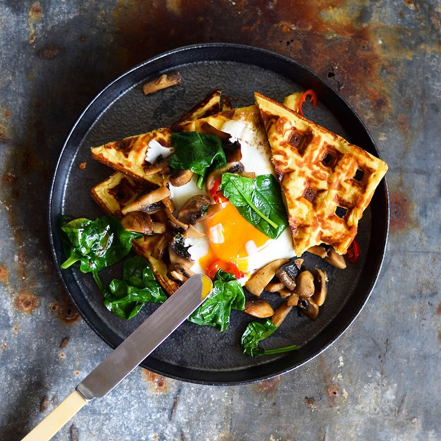 Parmesan And Chickpea Waffles With Buttery Basil Mushrooms