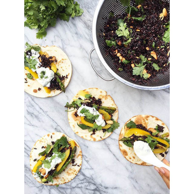Spiced Black Rice Vegetable Tacos