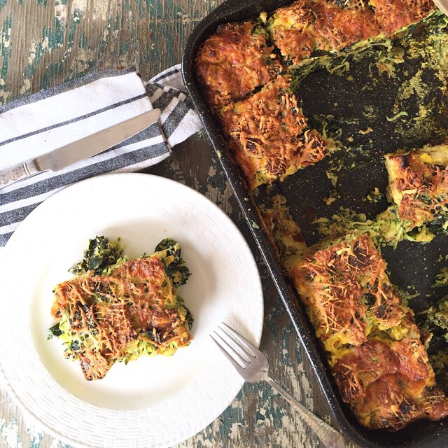 Kale And Garlic Scape Strata With Fresh Herbs And Parmesan