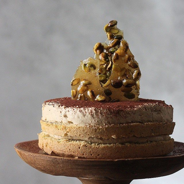 Pistachio Cake With Coffee Cardamom Mousse