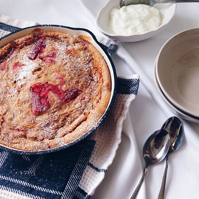 White Tea Infused Rhubarb Clafoutis