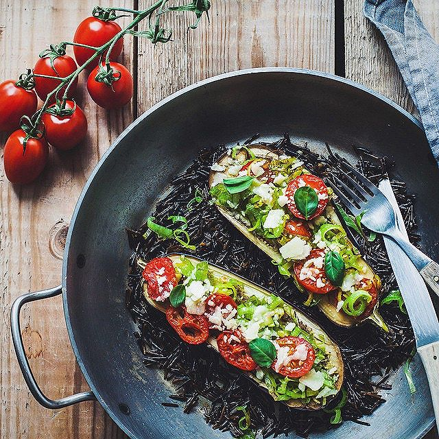 Baked Aubergine With Leek, Tomato, Basil & Parmesan