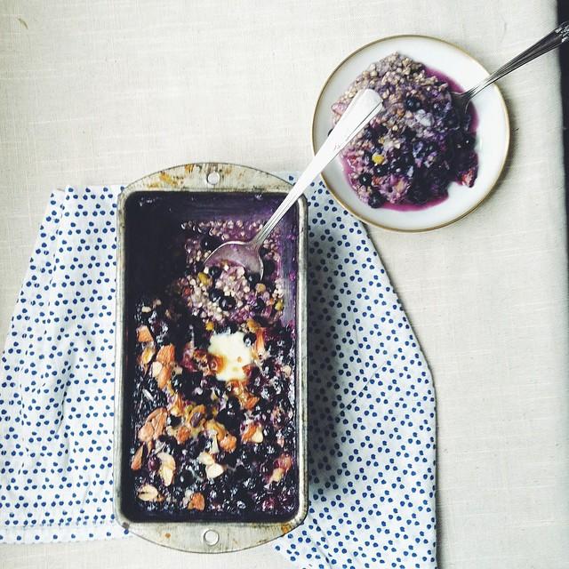 Blueberry Buckwheat Breakfast Bake, With Cardamom, Almonds, Pistachios, Maple Syrup & Plain Yogurt