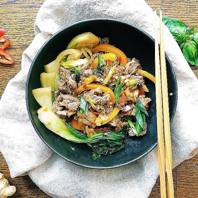 Thai Flank Steak Stir Fry With Basil And Baby Bok Choy