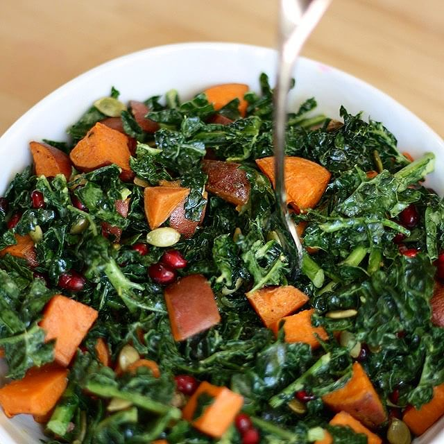 Sweet Potato & Kale Salad With Pumpkin & Pomegranate Seeds