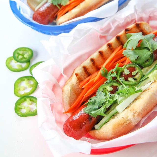 Hoisin Banh Mi Hot Dogs With Cucumber, Jalapeno & Cilantro