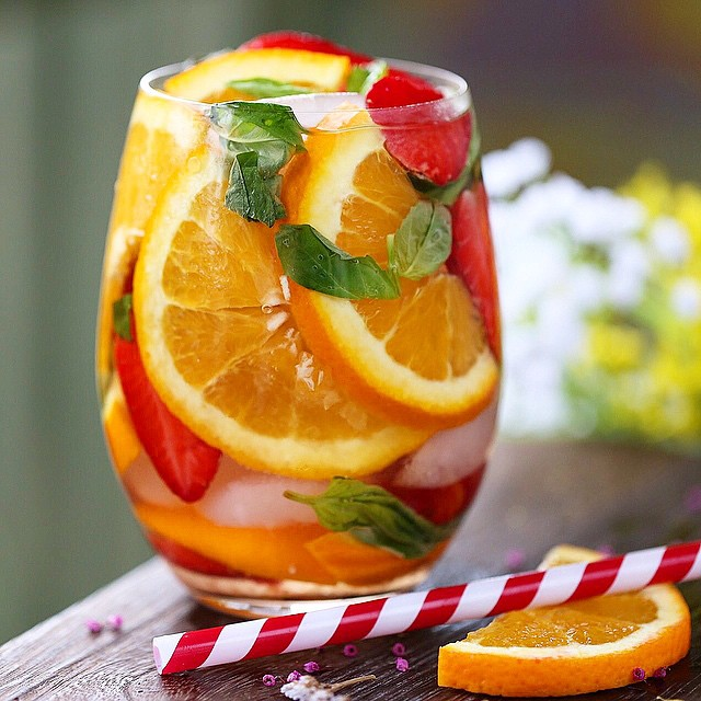 My Saturday morning detox water! Place sliced strawberries, oranges and basil in a pitcher of water…