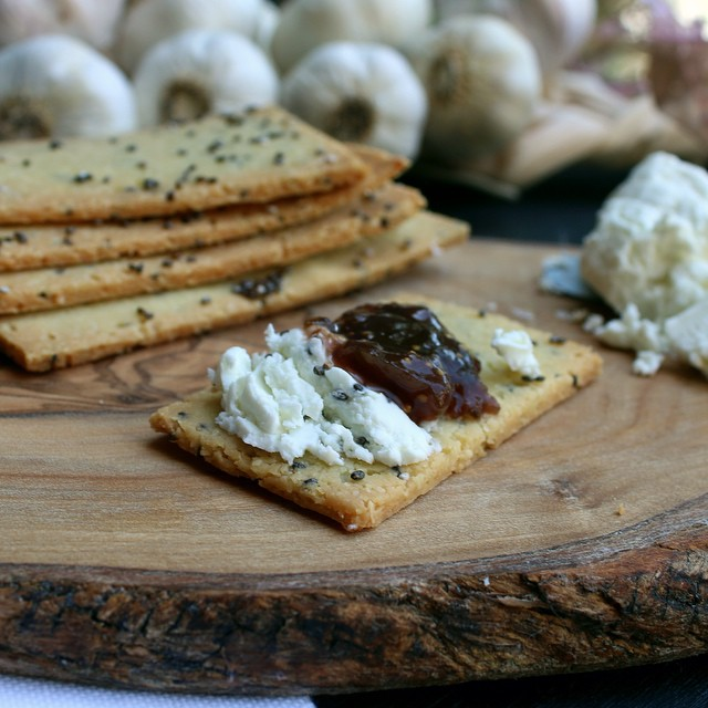 Grain-free Almond Chia Crackers With Goat Cheese & Fig Jam