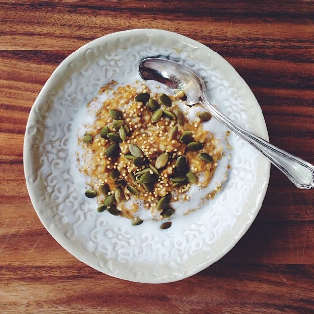 """A perfect breakfast! """"Today's the kinda day when you just can't resist spiking your oatmeal with…"""