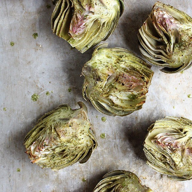 Basil Brushed Roasted Artichokes
