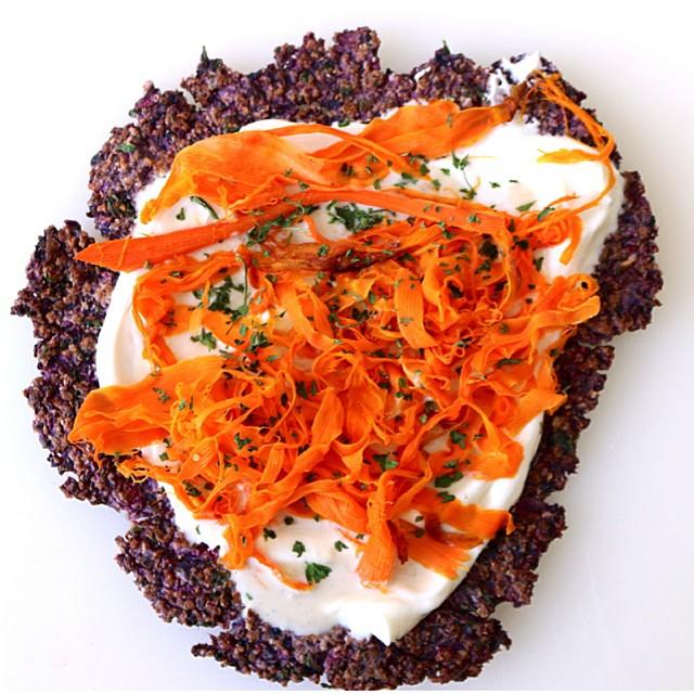 Purple Cauliflower Flatbread With Rosewater Greek Yogurt, Carrots & Tahini