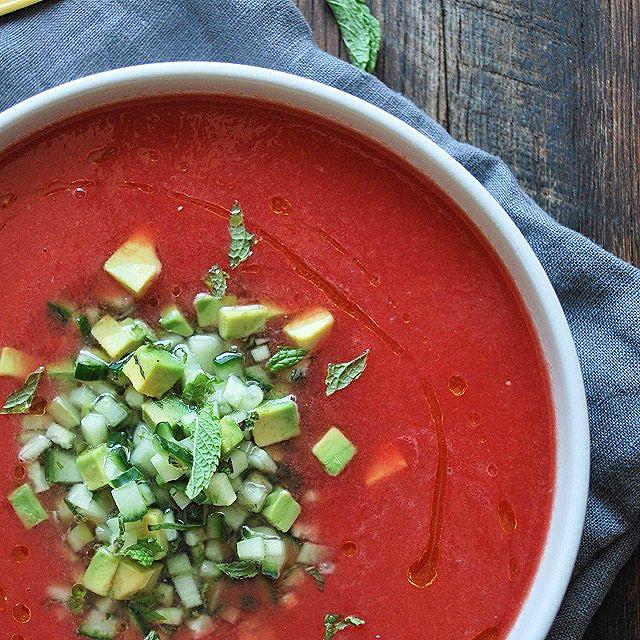 Watermelon And Habanero Gazpacho With Mint, Cucumber & Avocado Salsa