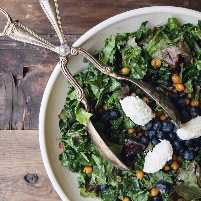 Blueberry Kale Caesar With Sweet Lemon Ricotta And Honey Spiced Chickpeas