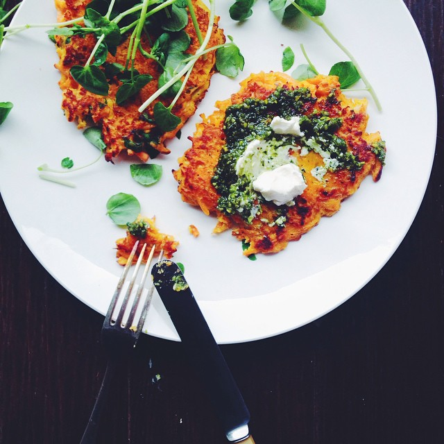 Sweet Potato Latkes With Basil Pesto, Poached Egg And Labneh