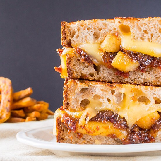 Smoked Gouda Grilled Cheese With Bourbon Bacon Onion Jam & Caramelized Apples