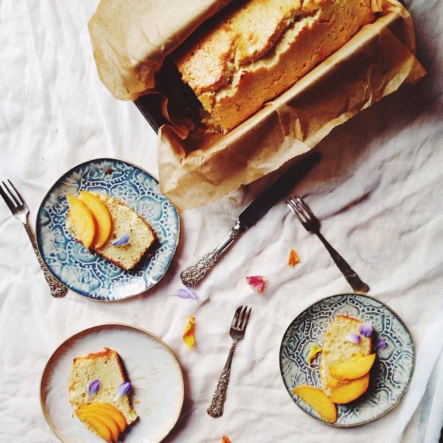 Cardamom Sour Cream Cake With Sliced Peaches