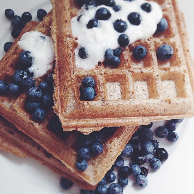 Yeasted Whole Wheat Waffles With Blueberries & Coconut Cream