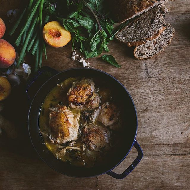 Summery peach braised chicken thighs with thai basil and oyster mushrooms are perfect for guests…