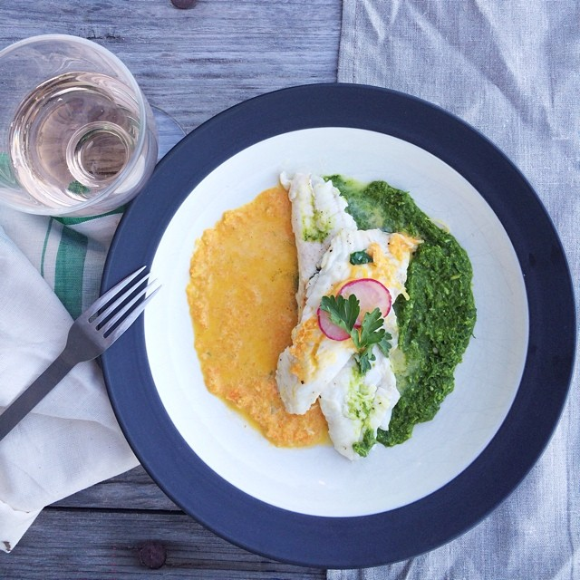 Seared Local Montauk Fluke With Carrot Horseradish Vinaigrette And Pea Pesto, Topped With Quick Pickled Radishes And Parsley