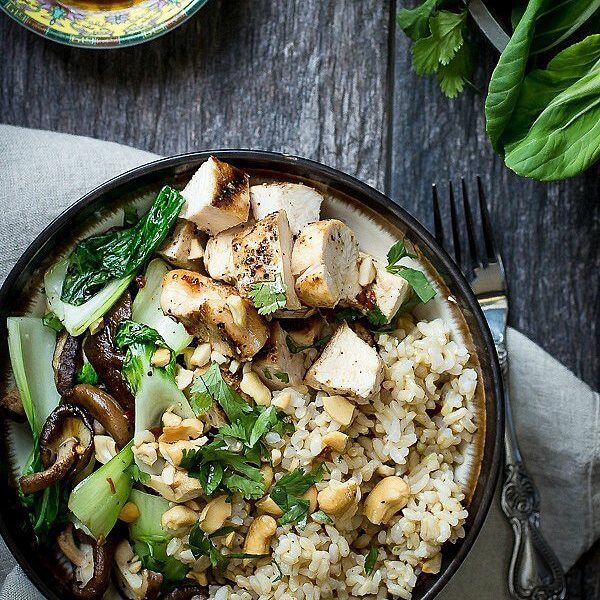 Grilled Chicken Bowl With Shitake Mushrooms, Bok Choy And Brown Rice