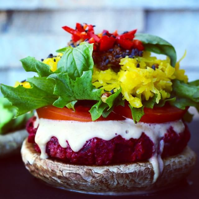 Beetroot, Carrot And Apple Burger With Mushroom Buns