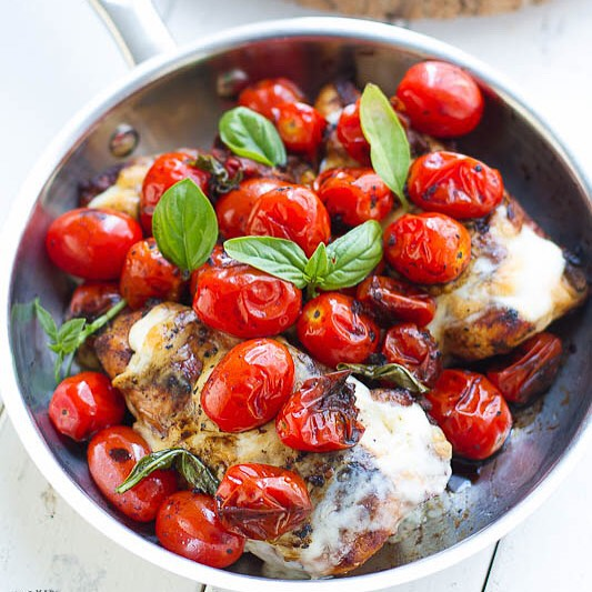 Caprese Chicken can be made in a skillet or on the grill & makes an easy weeknight dish