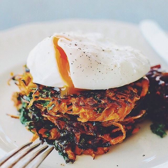 Kumara And Kale Latkes With Poached Eggs