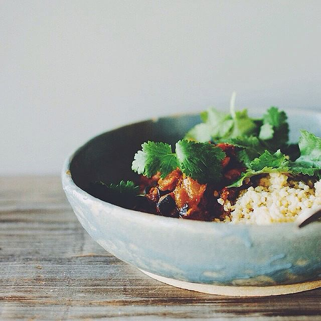 Eggplant And Tomato Curry On Buttered Millet