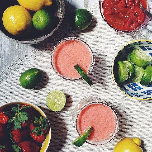 Strawberry Rhubarb Margaritias