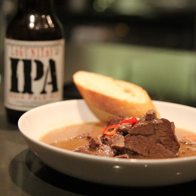 Braised Short Ribs In A Red Wine Reduction Curry Paired With Lagunitasbeer Ipa