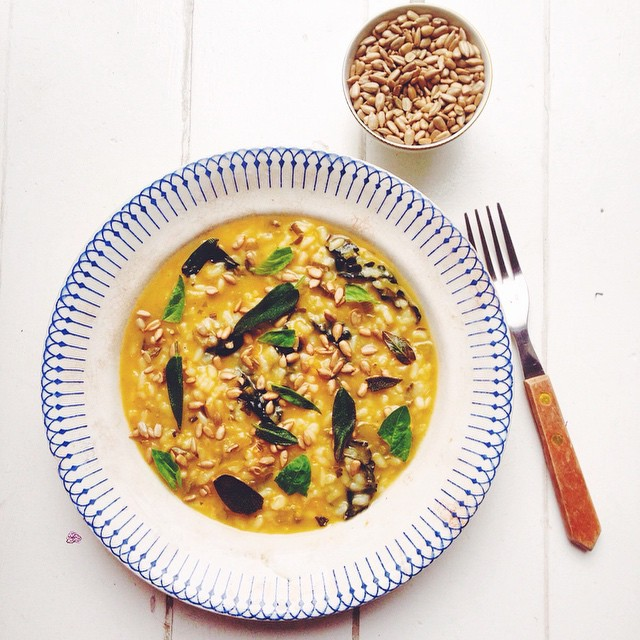 Risotto With Squash, Kale, Sage And Sunflower Seeds