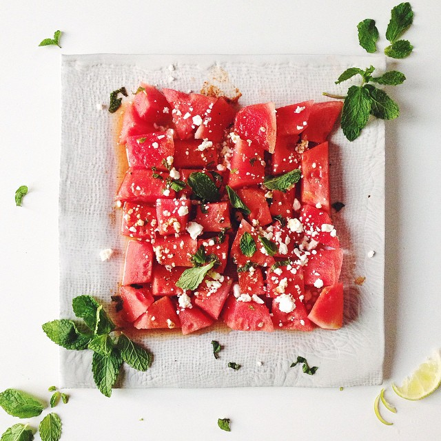 Watermelon And Feta Salad With Mint And Chile Lime Vinaigrette
