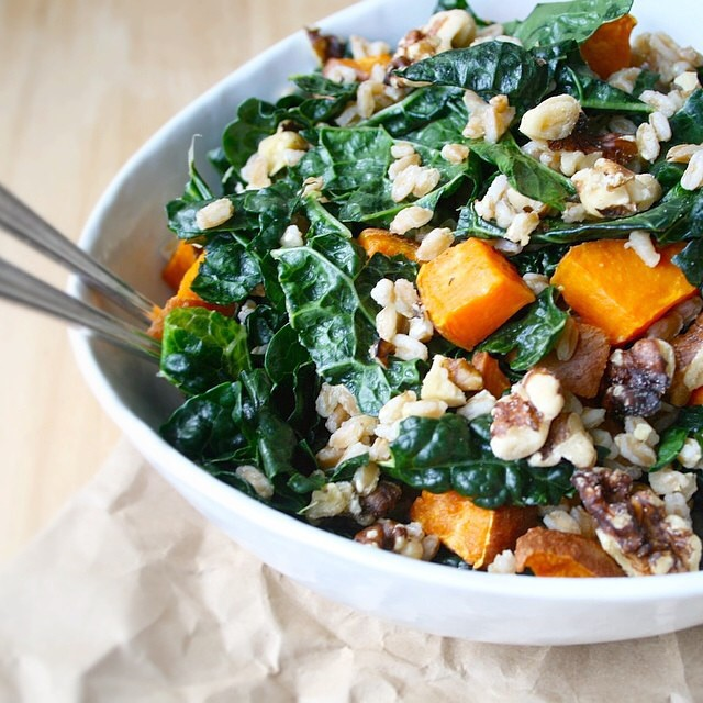 Kale, Farro & Sweet Potato Salad With Walnuts