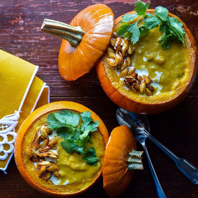 Pumpkin Curry Soup With Candied Pumpkin Seeds