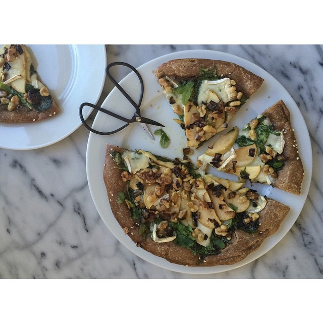 Kale & Walnut Pizza With Goat Cheese, Apples & Shallots