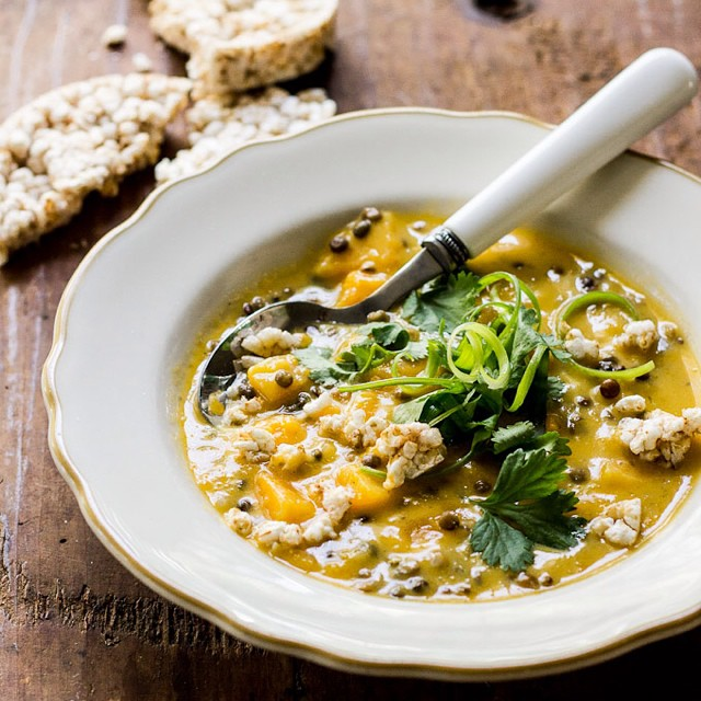 Thai Butternut Squash Soup With Crispy Rice Cakes & Scallions