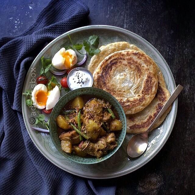 Chicken Curry, Paratha & Eggs
