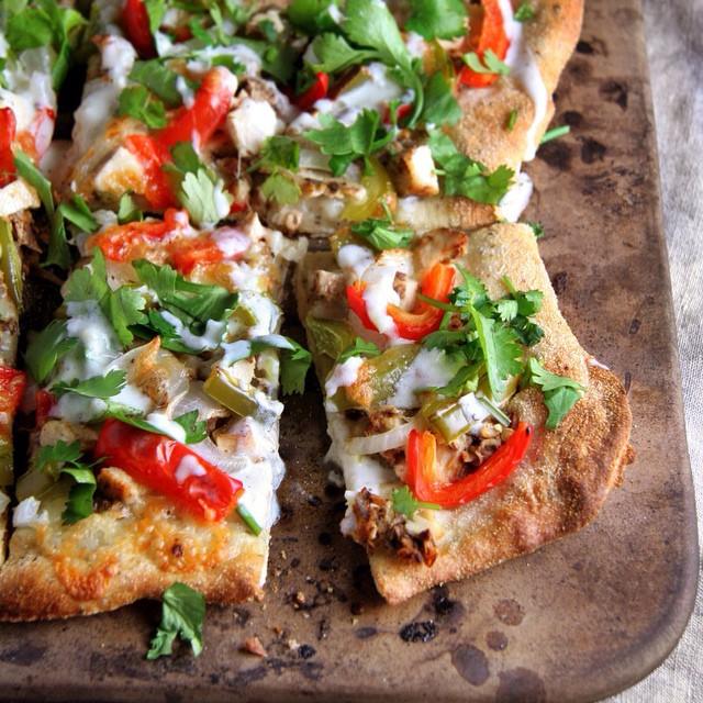 Chicken Tandoori Pizza With Honeyed Garlic, Yogurt & Cilantro