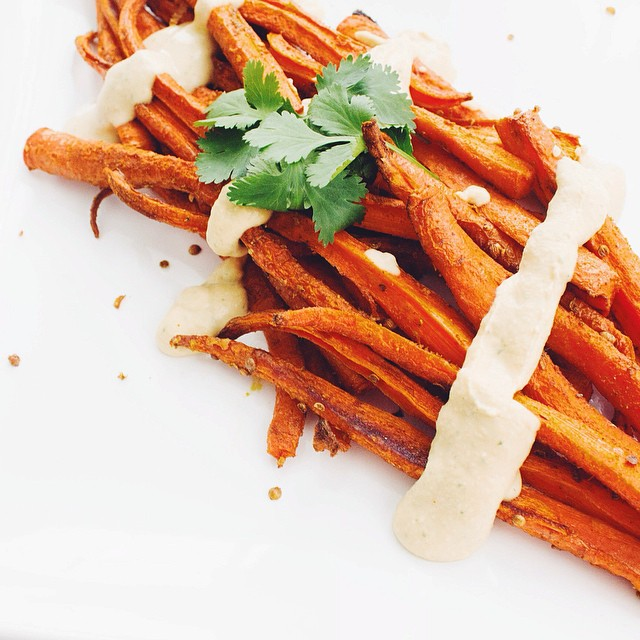 Cumin & Crushed Coriander Roasted Carrots With Hummus Sauce